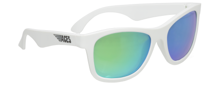 Babiators Otroška sončna očala Ace Navigator Wicked white/Green lenses 6+ let ACE-014
